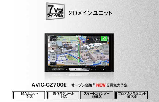 【送料無料】カロッツェリアAVIC-CZ700II+バックカメラND-BC8II+RD-C200セット
