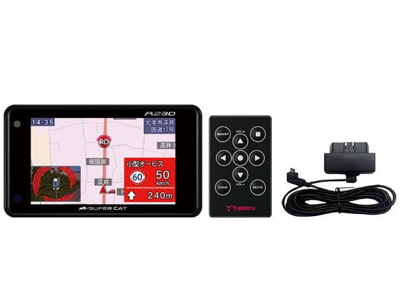 【キャッシュレス決済5%還元!対象店】SUPER CATユピテル3.6型OBDII対応GPSレーダー探知機アラートCG×Photo搭載リモコン操作モデルA230+OBDIIアダプターOBD12-MIIIセット