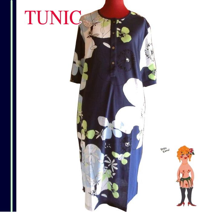 在庫セール♪【送料無料】【TUNIC】チュニック 綿ニットワンピース 5分袖・ネグリ 室内着 #57723 綿100% 日本製