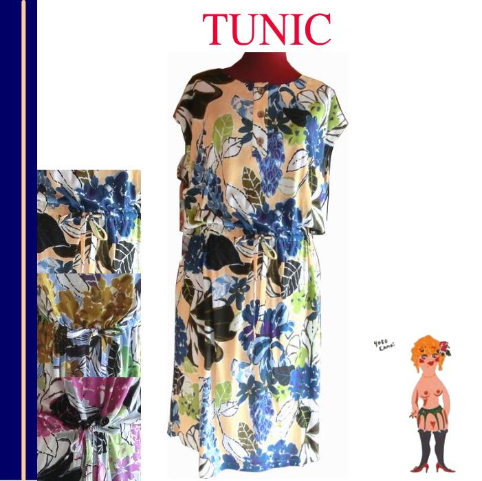 在庫セール♪【送料無料】【TUNIC】チュニック バラエティプリント フレンチ袖・ワンピース 室内着 #57720 綿100% 日本製