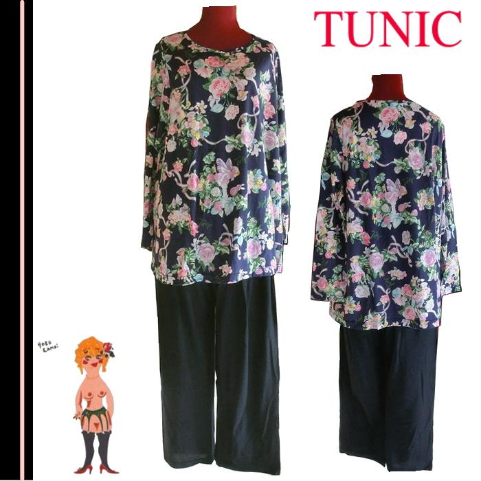 在庫セール♪【送料無料】【TUNIC】チュニック フェアリーローズシリーズ 100% 長袖 パジャマ #23240 ネイビー(日本製)