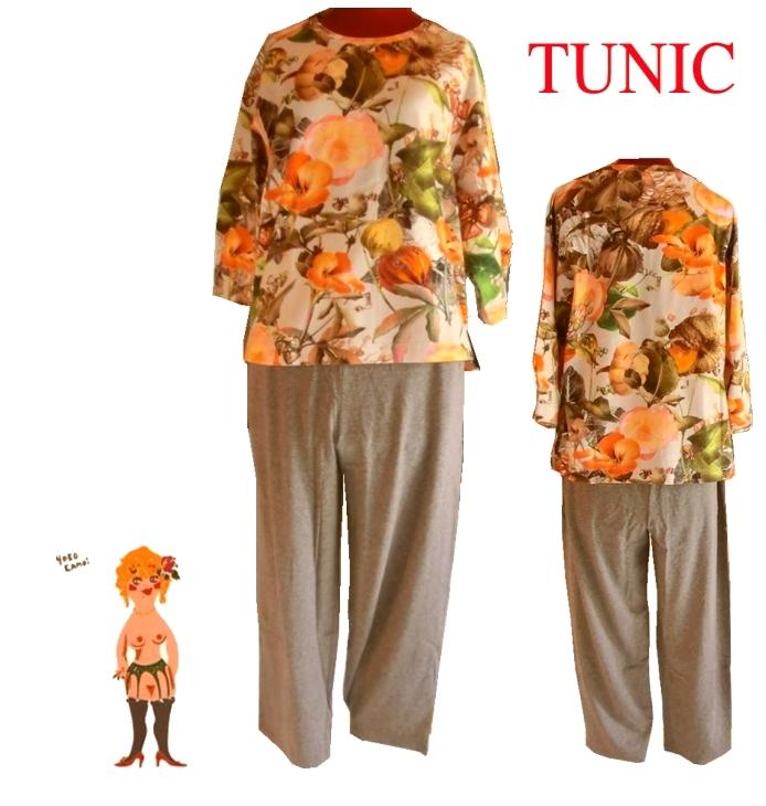 在庫セール♪【送料無料】【TUNIC】チュニック 大花プリント7分袖 パジャマ #43967(日本製)綿 オレンジ