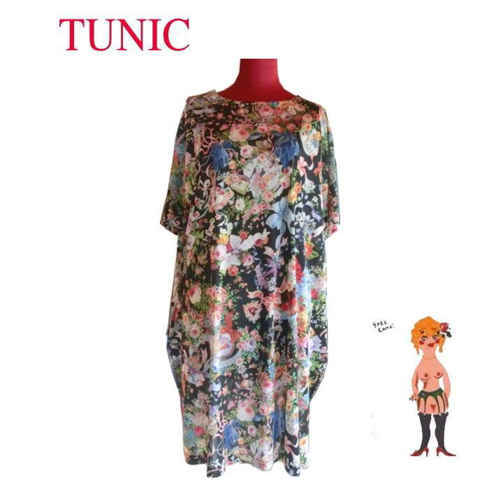 新作♪【送料無料】【TUNIC】チュニック ビスコラビア・ネグリ 室内着 #13405 リボンビーナス 半袖 日本製 ブラック