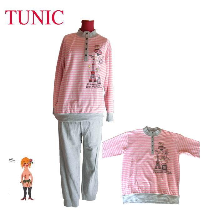 在庫セール♪【送料無料】【TUNIC】チュニック 長袖・パジャマ #49500 40カタブクロ・ボーダー エッフェルプリント ピンク 日本製