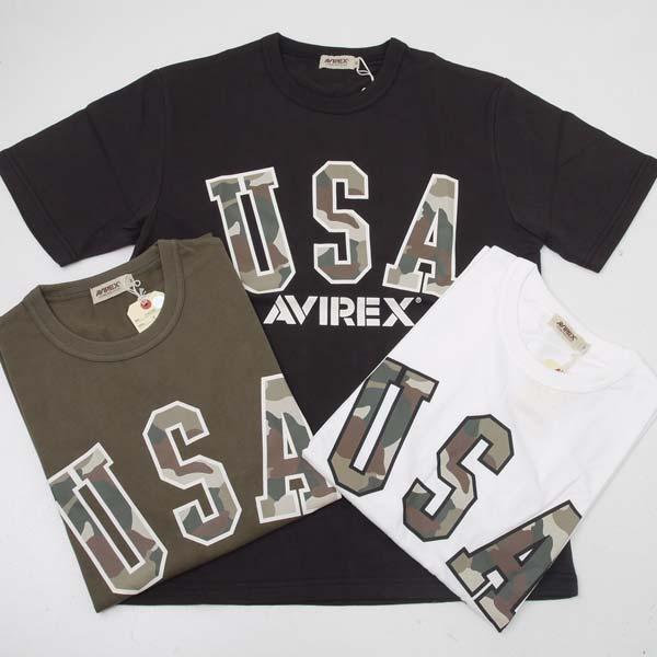 半袖Tシャツ 新作販売 AVIREX アヴィレックス アビレックス [再販ご予約限定送料無料] 6163395 USA カモ ロゴ