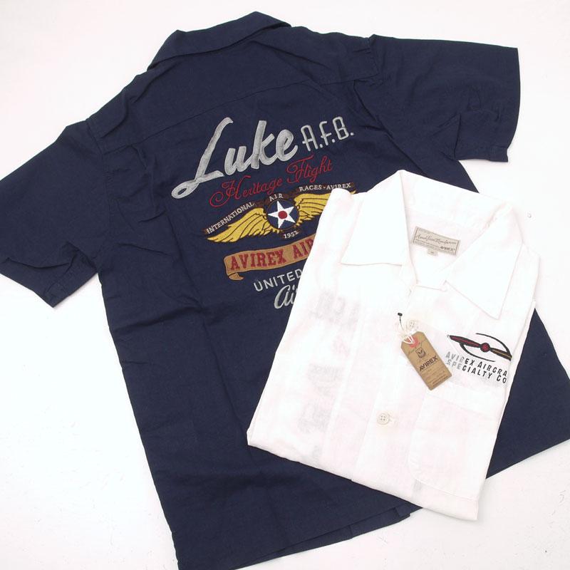 AVIREX アヴィレックス(アビレックス) 6155132 バック刺繍 ミリタリー半袖シャツ 『Luke A.F.B.』