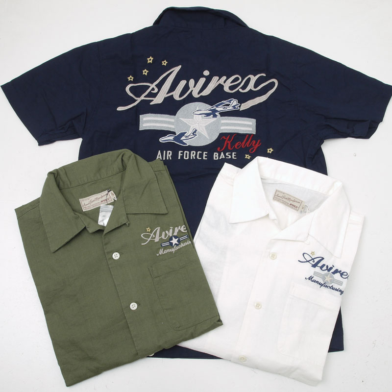 AVIREX アヴィレックス(アビレックス) 6165119 KERRY EMB. SHIRT 刺繍半袖シャツ