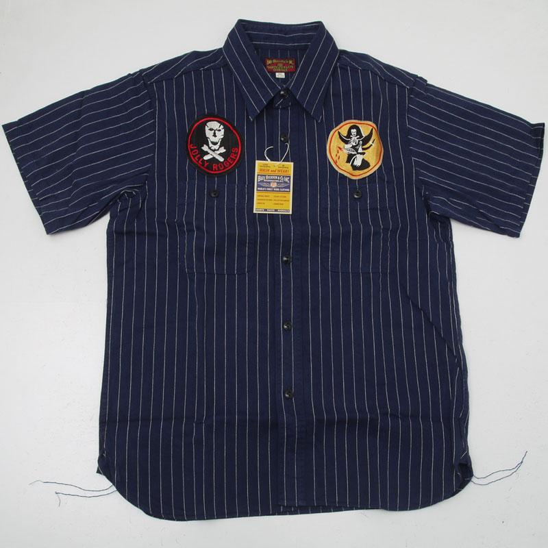 Buzz Ricksons バズリクソンズ BR37269-128 半袖コンストラクターシャツ ストライプ ワークシャツ ネイビー