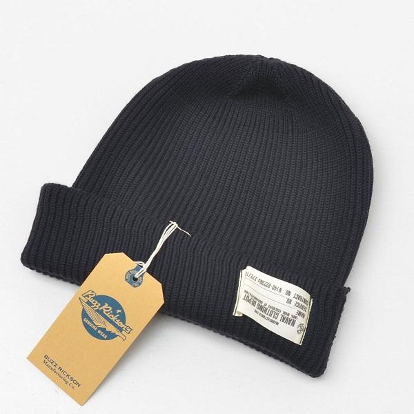 バズリクソンズ 割り引き USN ワッチキャップ Buzz 受注生産品 Rickson's WATCH ニット帽 バズリクソンズBR02243-128 CAPワッチキャップ ネイビー