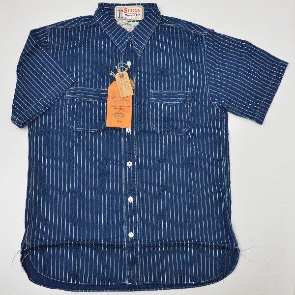 SUGAR CANE シュガーケーンSC36267-421 ウォバッシュストライプ ワークシャツ半袖ワークシャツ インディゴ