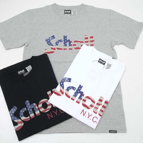 Schott ショット 3173033 Schott US FLAG ロゴ クルーネック半袖Tシャツ