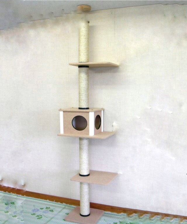 【送料無料】 キャットタワー 天井突っ張りタイプ 中央ボックスあり 棚板2枚(すべて消臭カーペットタイプ・ベージュ) 爪とぎ 省スペース