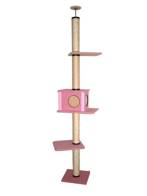 【送料無料】日本製 キャットタワー 中央ボックス有り 麻縄巻き支柱 棚板2枚 ピンク