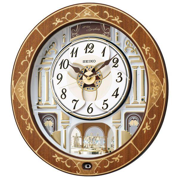からくり時計 ウエーブシンフォニー RE580B セイコーからくり壁掛け時計 SEIKO電波時計 報時 名入れ