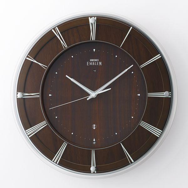 木の温かみを感じる壁掛け時計 セイコー掛け時計エンブレム SEIKO電波時計 HS558A グリーン購入法適合商品【楽ギフ_のし】【楽ギフ_メッセ入力】【楽ギフ_名入れ】