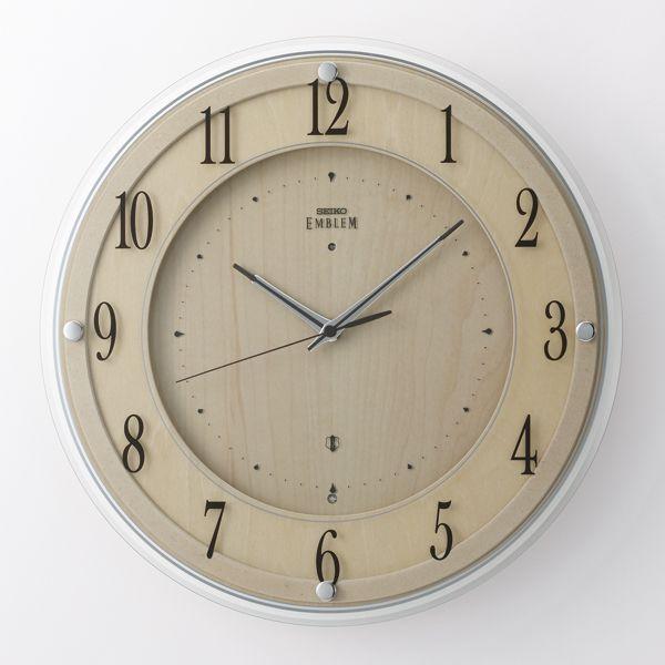 木の温かみを感じる壁掛け時計 セイコー掛け時計エンブレム SEIKO電波時計 HS558B グリーン購入法適合商品【楽ギフ_のし】【楽ギフ_メッセ入力】【楽ギフ_名入れ】