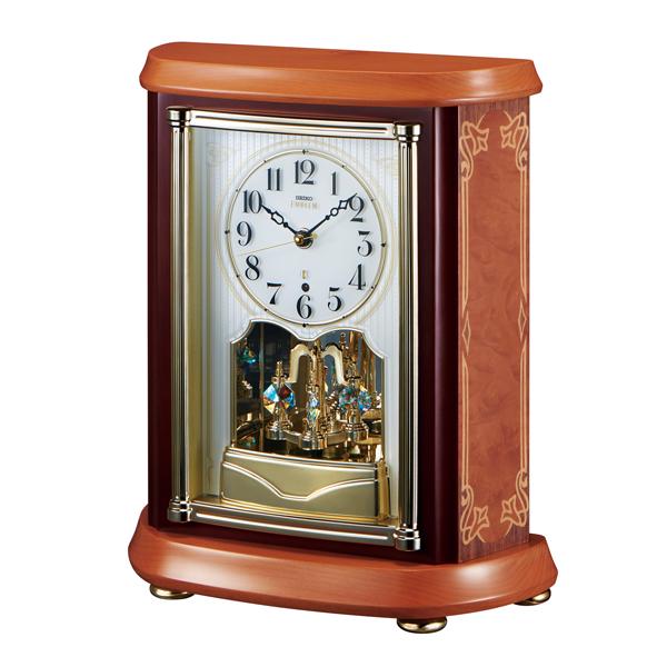 アールヌーボー調の木象嵌が華を添えます!セイコー置時計エンブレム  SEIKO電波置き時計 HW595B  【楽ギフ_のし】【楽ギフ_メッセ入力】【楽ギフ_名入れ】