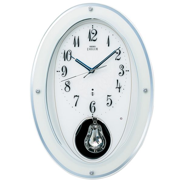 SEIKO エンブレム 振り子時計 メロディ HS444W セイコー電波時計 名入れ 送料無料