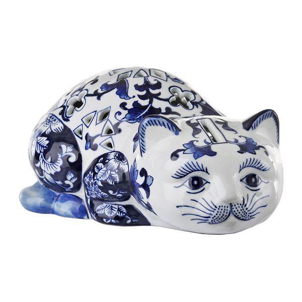 磁器貯金箱 マネーバンク 猫 Porcelain Piggy Bank - Blue/White  Cat PPB-C