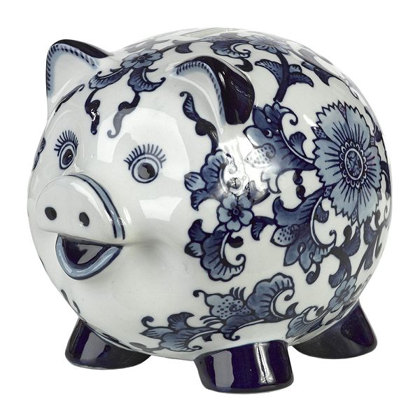 磁器貯金箱 マネーバンク 豚 Porcelain Piggy Bank - Blue/White Piggy PPB-P