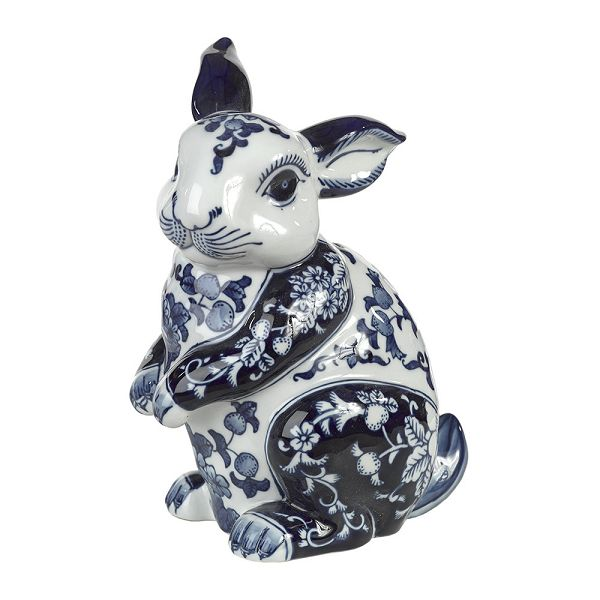 磁器貯金箱 マネーバンク ウサギ Porcelain Money Bank - Blue/White Rabbit PPB-R