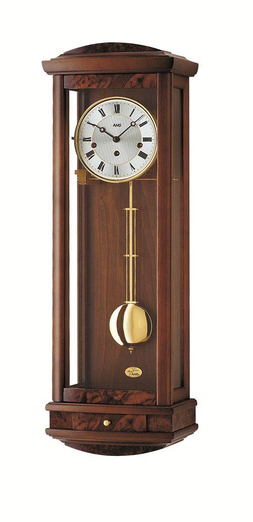 ウォルナット仕上げが美しい! AMSアームス機械式振り子時計 2607-1 報時時計