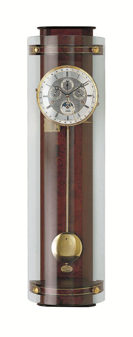 モダンデザインがお洒落です! AMSアームス機械式振り子時計 報時 3633-1 AMS振り子時計 ムーンフェイズ