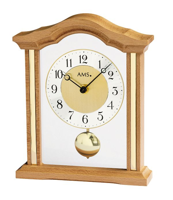 木製フレームが美しい!AMS振り子置き時計 1174-18 ビーチウッド AMS置き時計