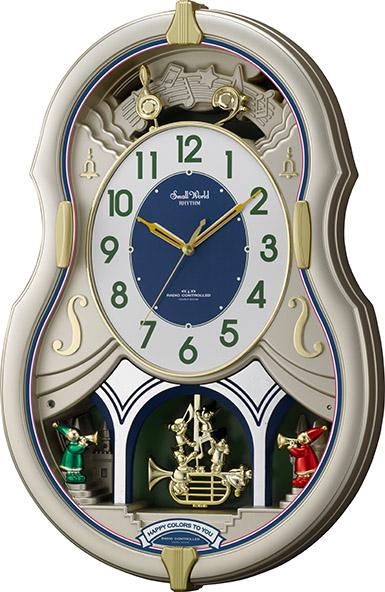 【からくり時計、壁掛け時計】美しいメロディーで時を知らせる!アミュージング時計 からくり電波時計 スモールワールドカラ―ズ 4MN543RH18  リズム時計 名入れ 送料無料 ギフト 記念品