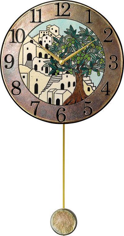 陶器の温かさとイタリアンアートに溢れる魅力! アントニオ・ザッカレラ Antonio Zaccarella 陶器振り子時計 ZC945-005 名入れ 【_のし】【_メッセ入力】