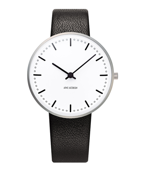 アルネ・ヤコブセン腕時計 ARNE JACOBSEN City Hall Watch Leather 34mm 53201-1601 ROSENDAHL