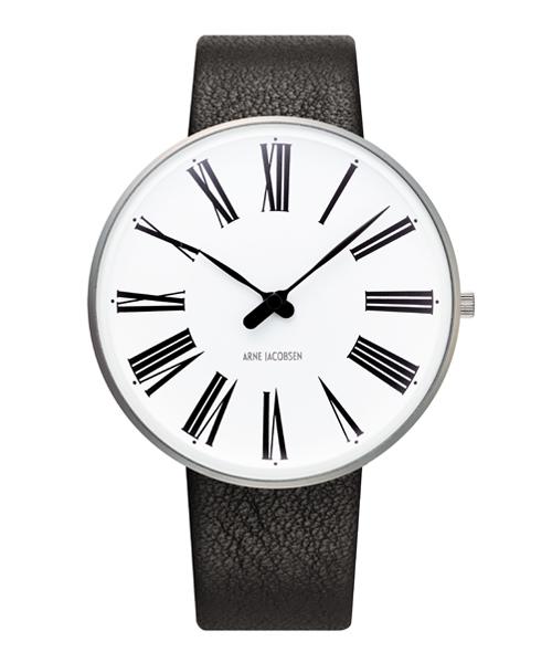 アルネ・ヤコブセン腕時計 ARNE JACOBSEN Roman Watch Leather 40mm 53302-2001 ROSENDAHL