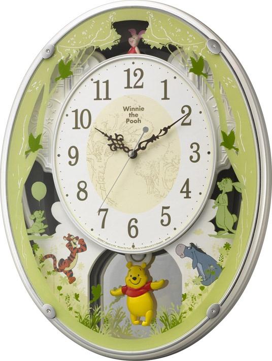 リズム時計 RHYTHM からくり時計 くまのプーさん掛け時計、ディズニー掛け時計です!アミュージング くまのプーさんM523振り子時計 4MN523MC03 リズム時計