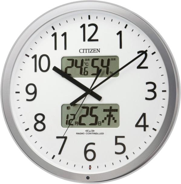 リズム掛け時計(シチズン掛け時計) オフィス時計 電波掛け時計 プログラムカレンダー403 4FN403SR19  RHYTHM掛け時計 名入れ
