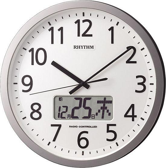 掛け時計 オフィス チャイムを鳴らす時間をプログラム 電波掛け時計 プログラムカレンダー405 4FN405SR19 リズム時計 名入れ