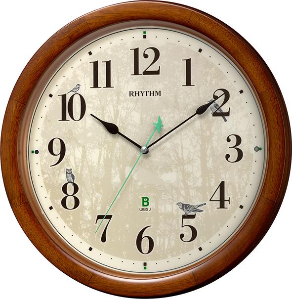 報時掛け時計408 日本野鳥の会 四季の野鳥 電波掛け時計 8MN408SR06 名入れ