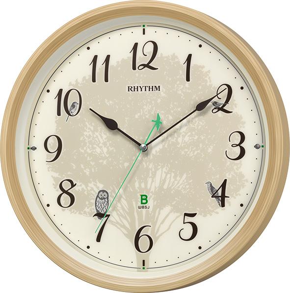 報時掛け時計409 日本野鳥の会 四季の野鳥 電波掛け時計 8MN409SR06 名入れ