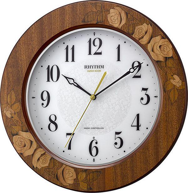 掛け時計 象嵌細工 高級感 電波掛け時計 アマービレM520 8MY520SR06 リズム時計 名入れ