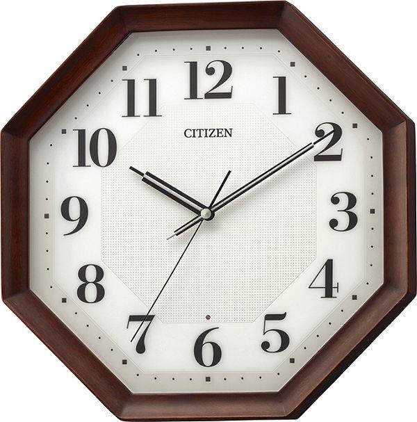 シチズン時計 電波掛け時計  8MY555-006 八角形 木製フレーム CITIZEN掛け時計