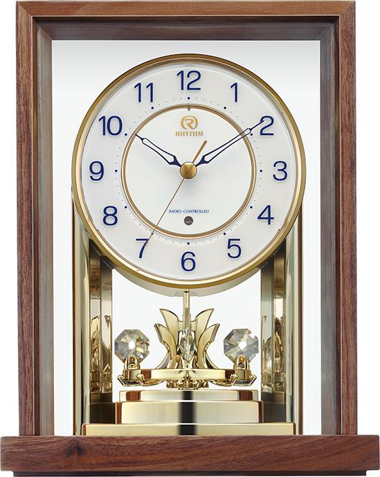 回転飾り付き ウッド置き時計 RHG-S82 リズムハイグレード 8RY415HG06 名入れ無料サービス 【楽ギフ_のし】【楽ギフ_メッセ入力】【楽ギフ_名入れ】