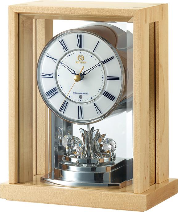 回転飾り付き ウッド置き時計 RHG-S82 リズムハイグレード 8RY415HG07 名入れ無料サービス 【楽ギフ_のし】【楽ギフ_メッセ入力】【楽ギフ_名入れ】