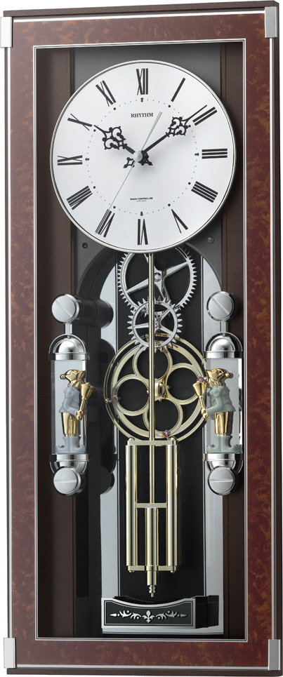 【からくり時計 壁掛け時計】 名入れ 振り子時計 報時時計 ソフィアーレプリモ 4MN535SR23 リズム時計 掛け時計 掛け時計 お洒落 ギフト 電波時計 音楽 送料無料