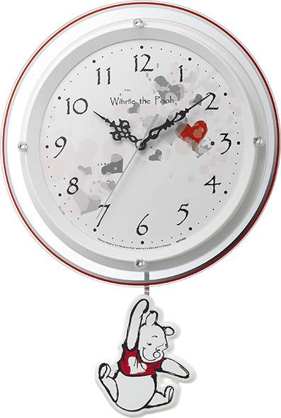 振り子が優雅に揺れます!くまのプーさん 振り子時計 8MX407MC03  リズム時計