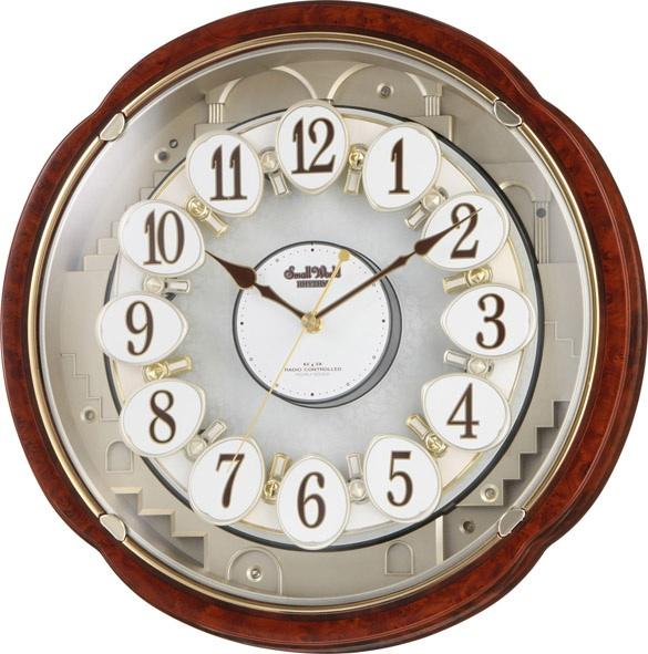 30%off からくり時計 壁掛け スモールワールド コンベルS 4MN480RH23 電波時計 名入れ 壁掛け時計 リズム時計 RHYTHM 名入れ
