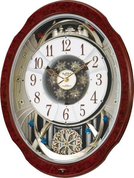 30%off からくり時計 壁掛け スモールワールド ブルームDX 4MN499RH23 電波時計 リズム時計 名入れ 掛け時計 RHYTHM時計 名入れ 文字入れ