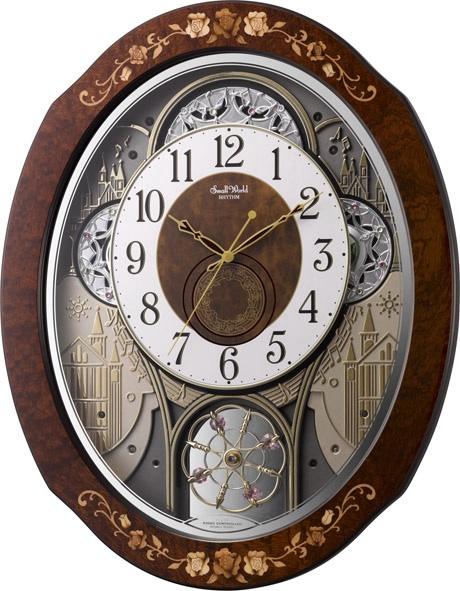 からくり時計 壁掛け時計 スモールワールド ティアモ からくり電波時計 4MN521RH06 リズム時計 掛け時計 名入れ お洒落 ギフト 報時 送料無料 プレゼント 開店祝い 結婚祝い 記念品 出産祝い 内祝い