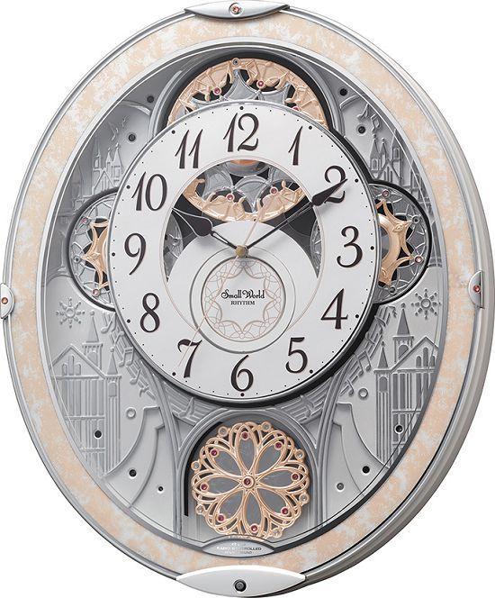 からくり時計 電波時計 スモールワールド ノエルNS 8MN407RH03 リズム時計 掛け時計 壁掛け時計 お洒落 名入れ 送料無料