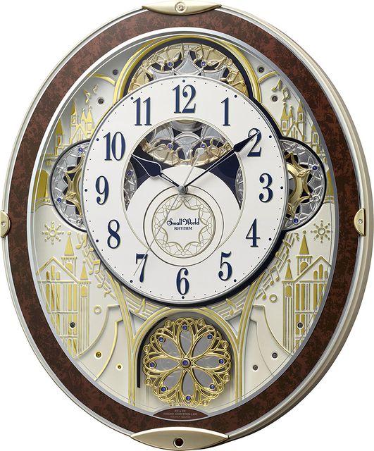 30%off からくり時計 電波時計 スモールワールド ノエルNS 8MN407RH23 リズム時計 掛け時計 壁掛け時計 お洒落 名入れ 送料無料