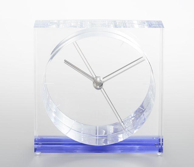 【Lemnos】ユニークなデザイン!Lemnos レムノス アクリル置き時計 IRIS イリス ブルーSSL14-09BL