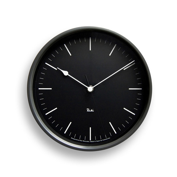 Lemnosレムノス 電波掛け時計 Riki STEEL CLOCK ブラック WR08-24BK Lemnos掛け時計